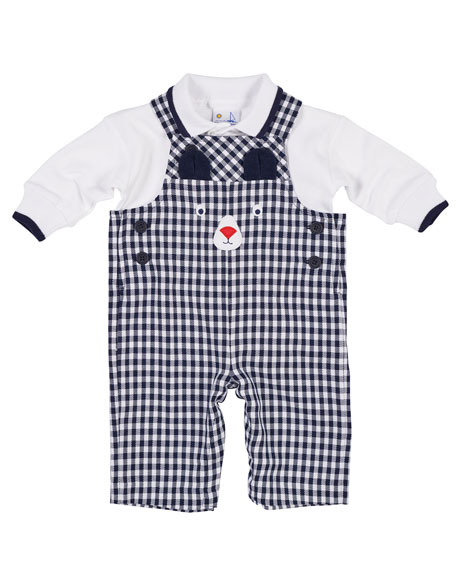 Twill Gingham Bear Overalls w/ Long-Sleeve Polo Top, Size 3-18 Months