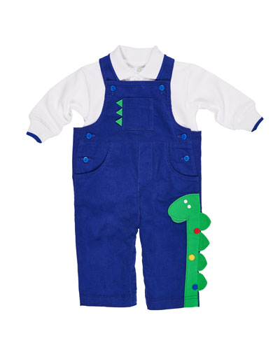 Corduroy Dinosaur Overalls w/ Long-Sleeve Polo Shirt, Size 3-24 Months