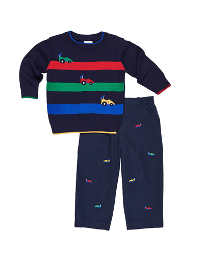 Race Car Stripe Sweater w/ Embroidered Twill Pants, Size 2-5