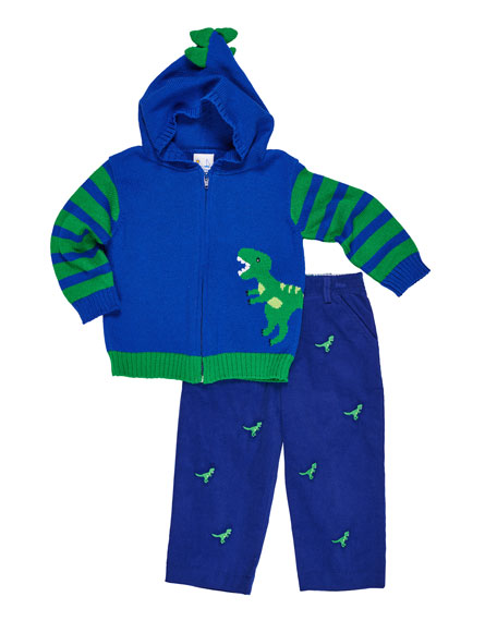 Florence Eiseman Hooded Dinosaur Zip-Up Sweater w/ Corduroy