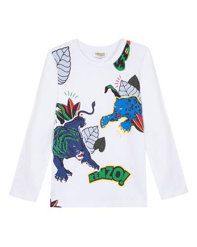 Multi-Icon Graphic Long-Sleeve Tee, Size 8-12