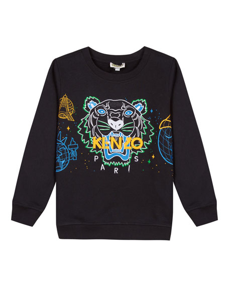 Tiger Icon Embroidered Sweatshirt, Size 2-6