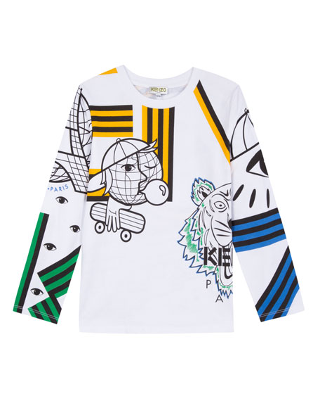 Kenzo Multi-Tech Icon Graphic Long-Sleeve Tee, Size 2-6