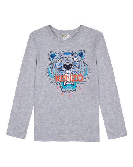 Kenzo Long-Sleeve Tiger Icon Tee, Size 2-6