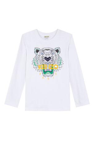 Kenzo Long-Sleeve Tiger Icon Tee, Size 2-6