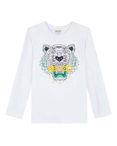 Long-Sleeve Tiger Icon Tee, Size 14-16