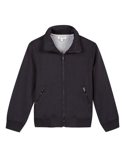 Tricot Zip-Front Logo-Back Jacket, Size 8-12