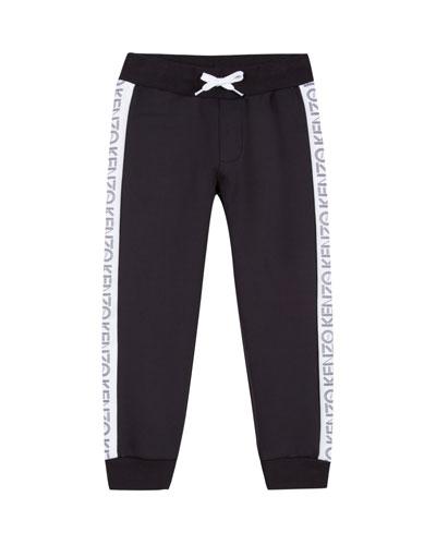 Tricot Jogger Pants w/ Logo Tape Sides, Size 14-16