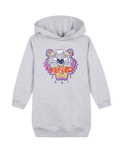 Fleece Tiger Embroidered Hoodie Dress, Size 4-6