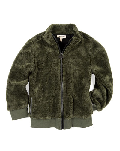 Woodland Plush Zip-Up Jacket, Size 2-10