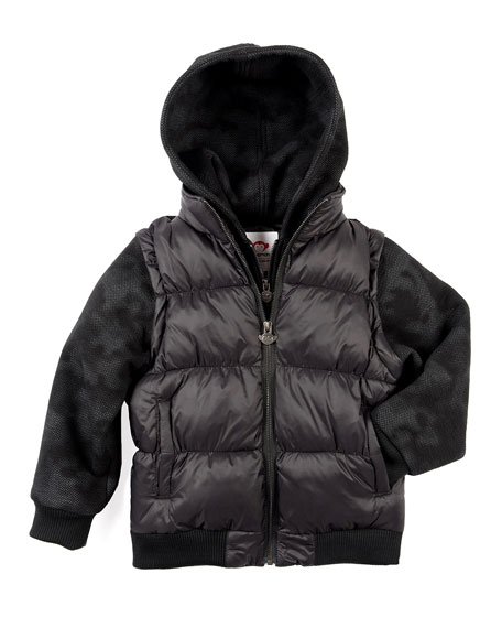 Appaman Turnstile Hooded Quilted Jacket w/ Zip-Off Sleeves,