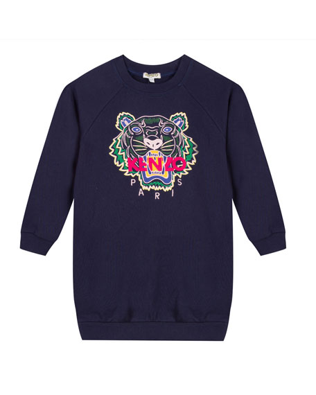 Kenzo Tiger Embroidered Sweatshirt Dress, Size 2-6