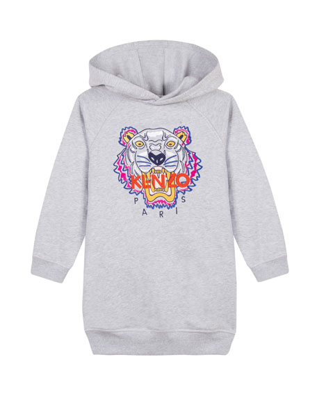 Kenzo Fleece Tiger Embroidered Hoodie Dress, Size 14-16