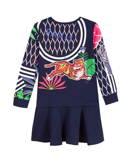 Drop-Waist Mixed Tiger Icon Dress, Size 4-6