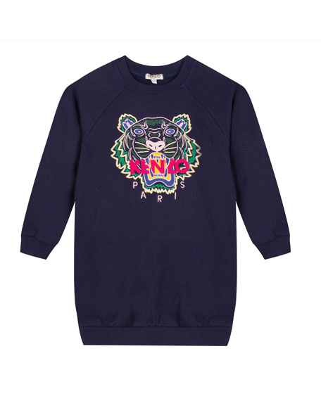Kenzo Tiger Embroidered Sweatshirt Dress, Size 14-16