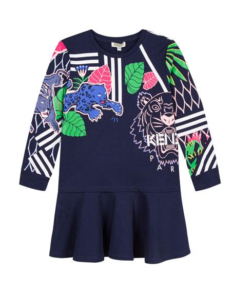 Drop-Waist Mixed Tiger Icon Dress, Size 14-16