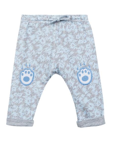 Kenzo Animal-Print Fleece Pants w/ Logo Embroideries, Size