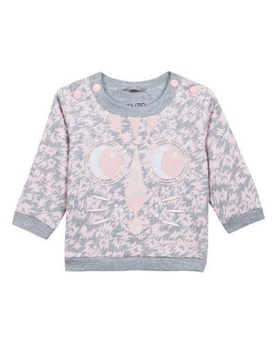 775504b2 Kenzo Animal-Print Sweatshirt w/ Baby Tiger Face Embroidery, Size 12-18