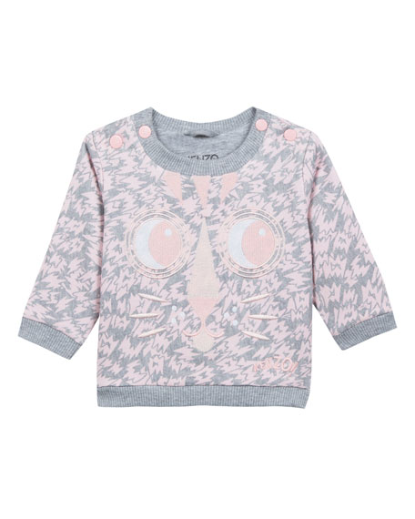 Kenzo Animal-Print Sweatshirt w/ Baby Tiger Face Embroidery,