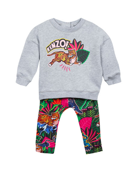 Kenzo Jumping Tiger Sweatshirt w/ Jungle-Print Leggings, Size