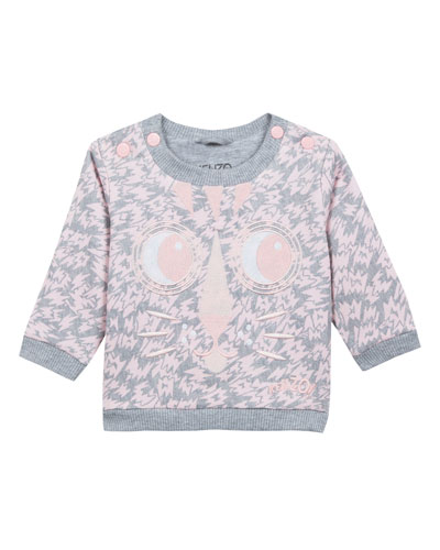 Animal-Print Sweatshirt w/ Baby Tiger Face Embroidery, Size 2-3