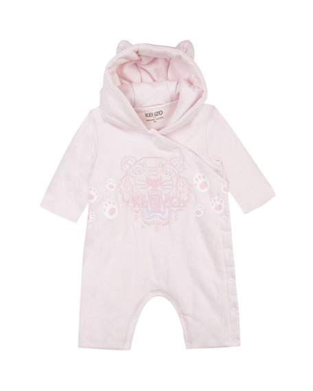 Kenzo Hooded Fleece Coverall w/ Tiger Icon Embroidery,