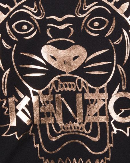 Metallic Tiger Face Icon Long-Sleeve T-Shirt, Size 14-16