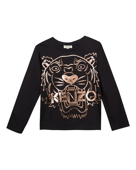 Metallic Tiger Face Icon Long-Sleeve T-Shirt, Size 14-16