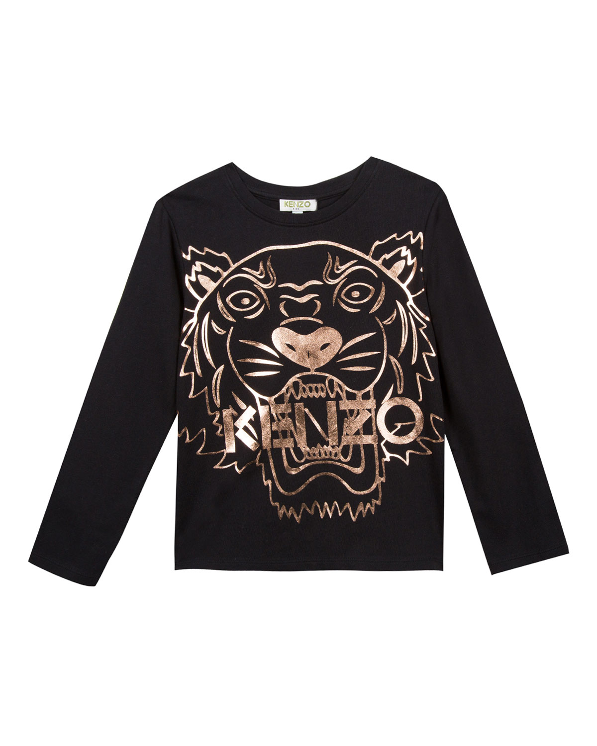 33ad8000f Kenzo Metallic Tiger Face Icon Long-Sleeve T-Shirt, Size 14-16 ...