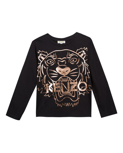 Metallic Tiger Face Icon Long-Sleeve T-Shirt, Size 4-6