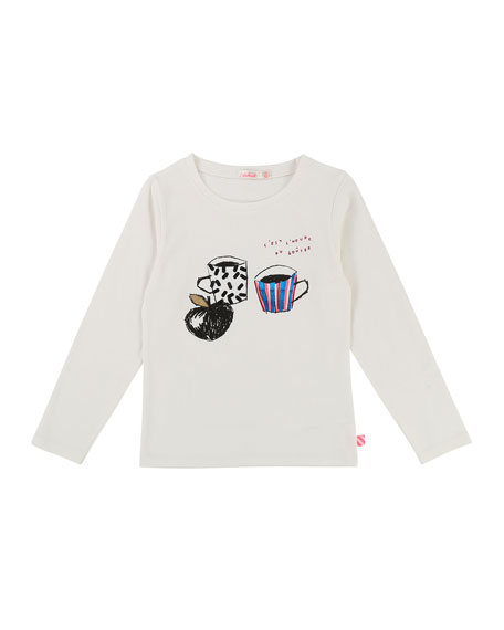 Long-Sleeve Cup-Print Tee, Size 4-8