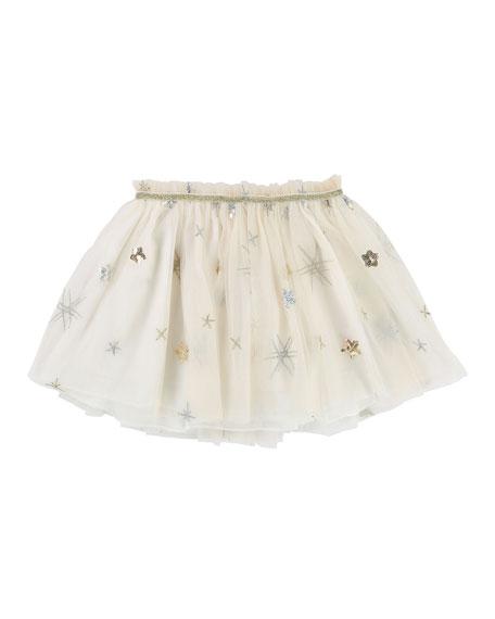 Glitter & Sequin Star Tulle Skirt, Size 4-8
