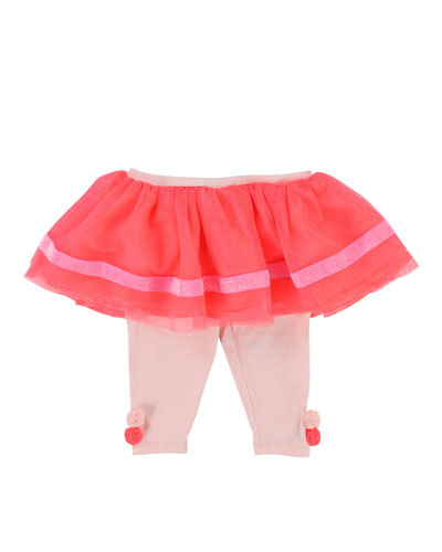 Jersey Leggings w/ Attached Tulle Skirt, Size 2-3