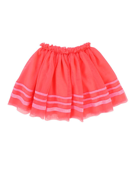 Tulle Glitter-Striped Skirt, Size 4-8