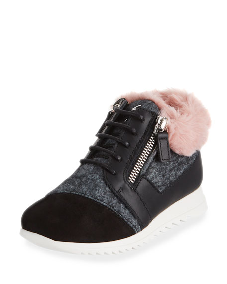 Giuseppe Zanotti Mixed Material Faux Fur-Trim Sneakers,