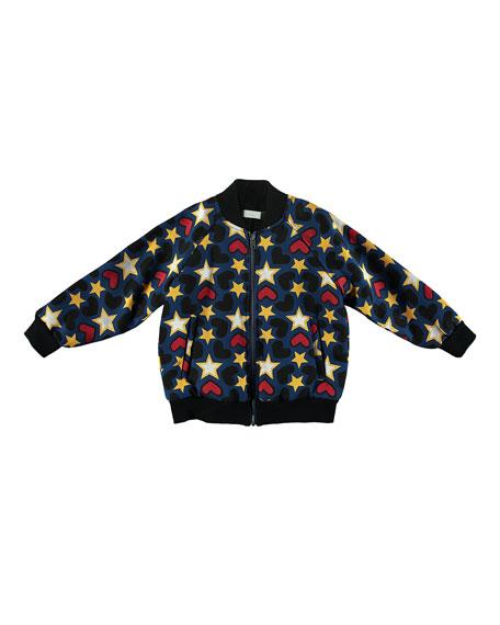 Tapestry Hearts & Stars Bomber Jacket, Size 4-14