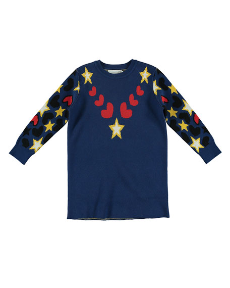 Star & Heart Intarsia Knit Dress, Size 4-14