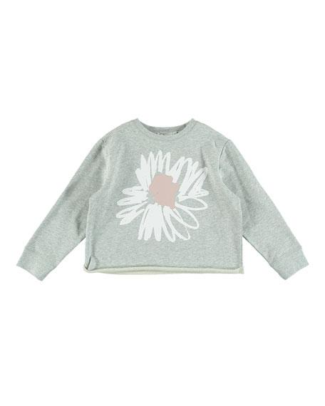 Flower Graphic Cropped Sweatshirt, Size 4-14