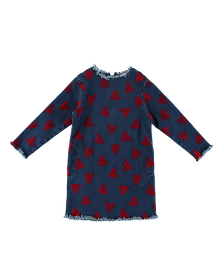 Stella McCartney Kids Raw-Edge Long-Sleeve Heart Dress, Size