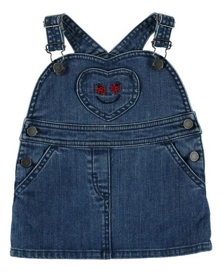 Stella McCartney Kids Denim Jumper w/ Ladybug Pocket,