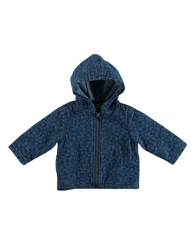 Star-Quilted Hooded Denim Jacket, Size 6-36 Months
