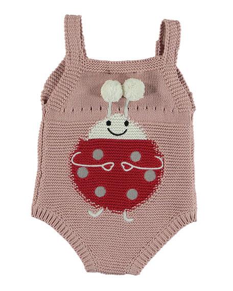 Knit Ladybug Sleeveless Bodysuit, Size 3-12 Months