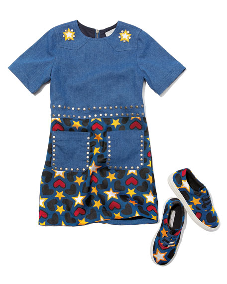 Denim Heart & Stars Short-Sleeve Dress, Size 4-14