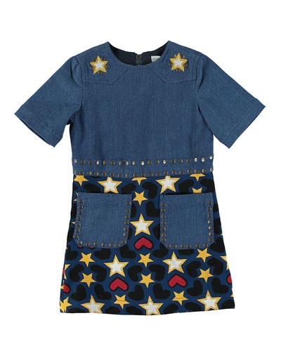 Denim Heart & Stars Short-Sleeve Dress, Size 4-14