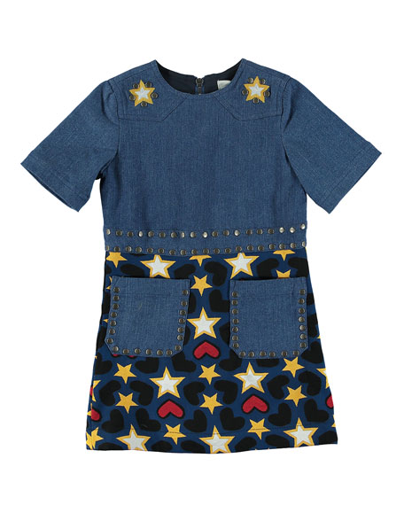 Stella McCartney Kids Denim Heart & Stars Short-Sleeve