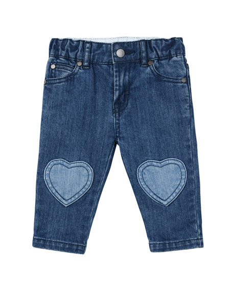 Denim Jeans w/ Heart Knee Patches, Size 12-36 Months