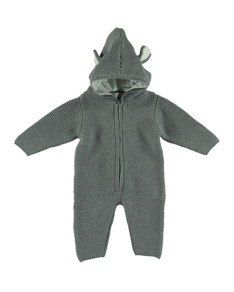 Knit Hooded Coverall w/ 3D Animal Ears, Size 3-18 Months