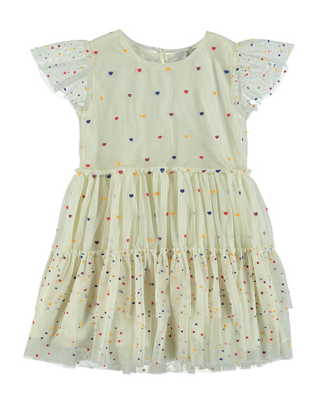 Tiered Tulle Multicolored Heart Dress, Size 4-14