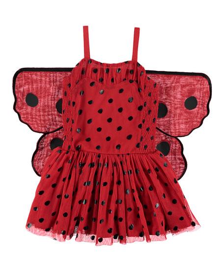 Ladybug Tulle Sleeveless Dress w/ 3D Wings, Size 4-10