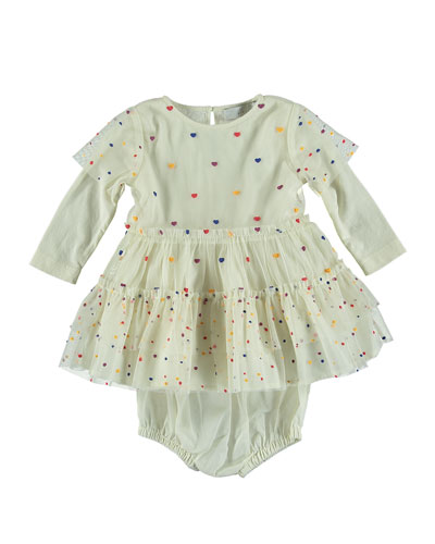 Tiered Tulle Multicolored Heart Dress, Size 6-36 Months